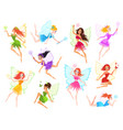 fairy magical little fairies in different color vector image