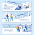 family ski resort hotel advertising set vector image