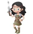 female warrior holding sharp sword vector image vector image