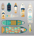 fisherman boats and wooden sailboat with paddles vector image vector image