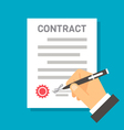 Flat design hand signing contract vector image