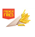 french fries potatoes paper cone classic vector image vector image