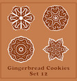 gingerbread snowflakes cookies set merry vector image