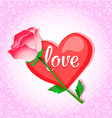 Greeting card with heart and rose pink vector image