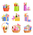 holiday presents set colorful paper shopping bags vector image