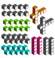 house music party cubic square fonts vector image vector image