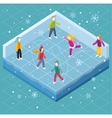 Ice Rink with People Isometric Style vector image vector image