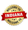 indiana 3d gold badge with red ribbon vector image vector image