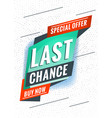 last chance promotional concept template vector image
