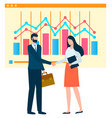 man and woman at work business analytics vector image vector image