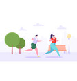 man and woman characters running in the park vector image vector image
