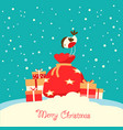 merry christmas card with holiday presents vector image vector image