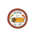 mexican burrito food doodle symbol round shape vector image vector image