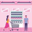 people on supermarket vector image