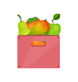 pink plastic box with tasty fruits juicy vector image