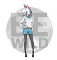 retro hipster fashion fantasy animal unicorn vector image