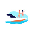 sea travel romantic date on yacht couple ocean vector image vector image