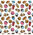 seamless pattern with fastfood objects vector image