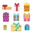 set gift box flat style vector image
