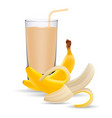 set of banana juice and two fresh bananas isolated vector image vector image