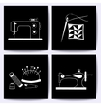 Set of cards with sewing machine needle The vector image vector image