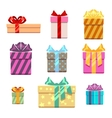 Set of gift box flat style vector image vector image