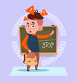 small school boy standing over class board with vector image vector image