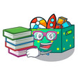 student with book children toy boxes isolated on vector image
