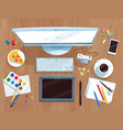 top view set of digital artists workplace vector image