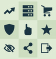 user icons set with cart protect log out and vector image