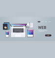web technology network concept top angle view vector image