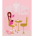 young woman reading book in coffee break vector image vector image