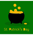 Black pot full of leprechauns gold coins vector image