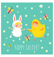 easter bunny chicken vector image