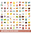 100 world tour icons set flat style vector image vector image