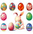A bunny surrounded with Easter eggs vector image vector image