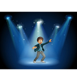 A stage with a boy dancing at the center vector image