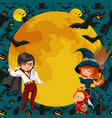 all hallows eve family party flat poster vector image vector image