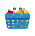blue plastic shopping basket full of fresh fruits vector image vector image