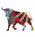 bull in a Spanish ornament vector image