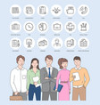 business colleagues and web design icons vector image