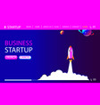 business concept banner with startup rocket vector image