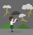 Businessman with umbrella standing in the rain vector image vector image