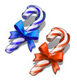 cartoon candy cane with decorative red and blue vector image vector image