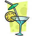 cartoon cocktail martini glass with lemon vector image