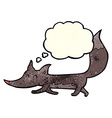cartoon little wolf with thought bubble vector image vector image