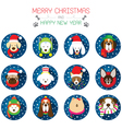 Christmas and Dog Breeds Icons vector image vector image