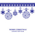 christmas card with hanging baubles vector image vector image