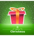 Christmas gift green card with snow around vector image vector image