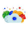 cloud safe money coin and card vector image